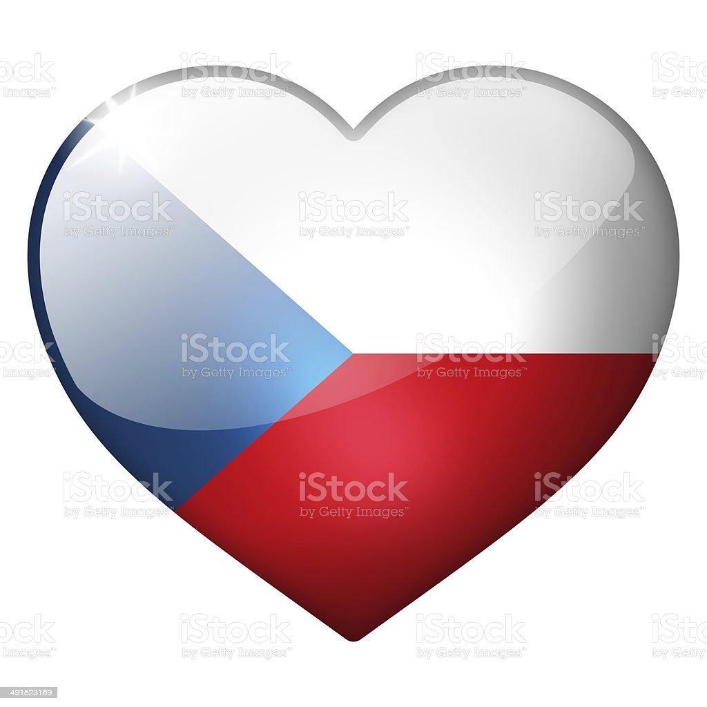 czech republic heart button stock photo