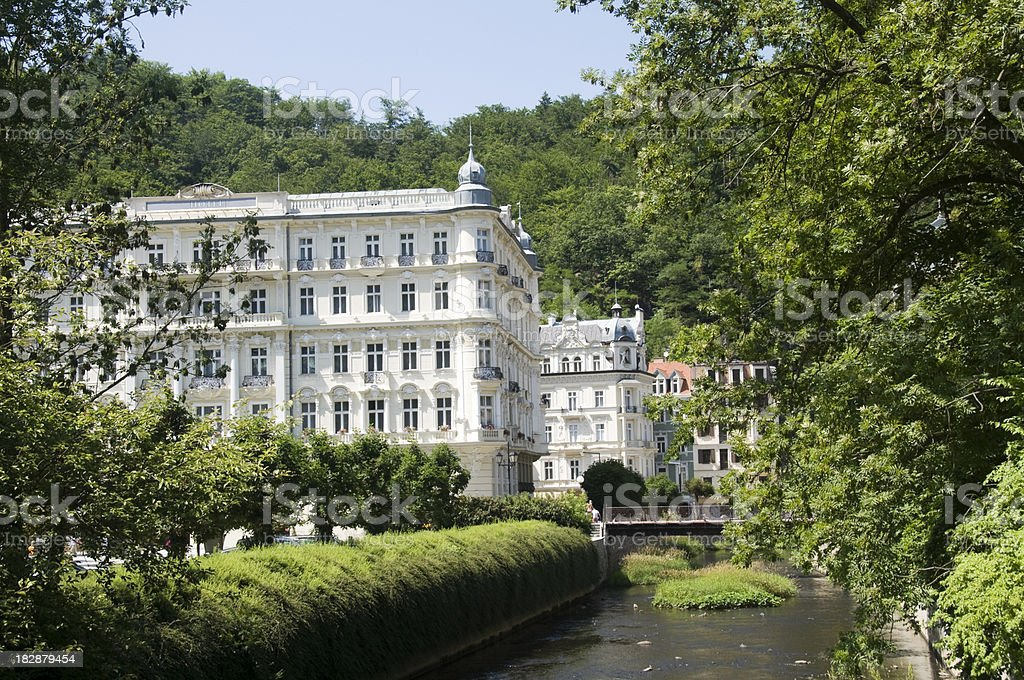 Czech Republic, Karlovy Vary spa town and River Tepl royalty-free stock photo