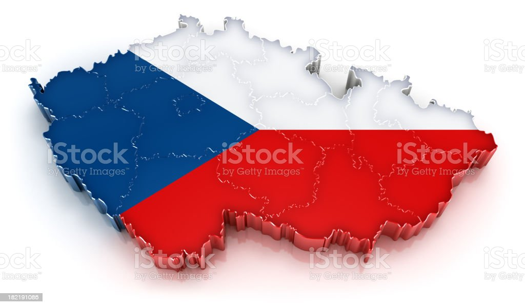 Czech Republic map with flag royalty-free stock photo