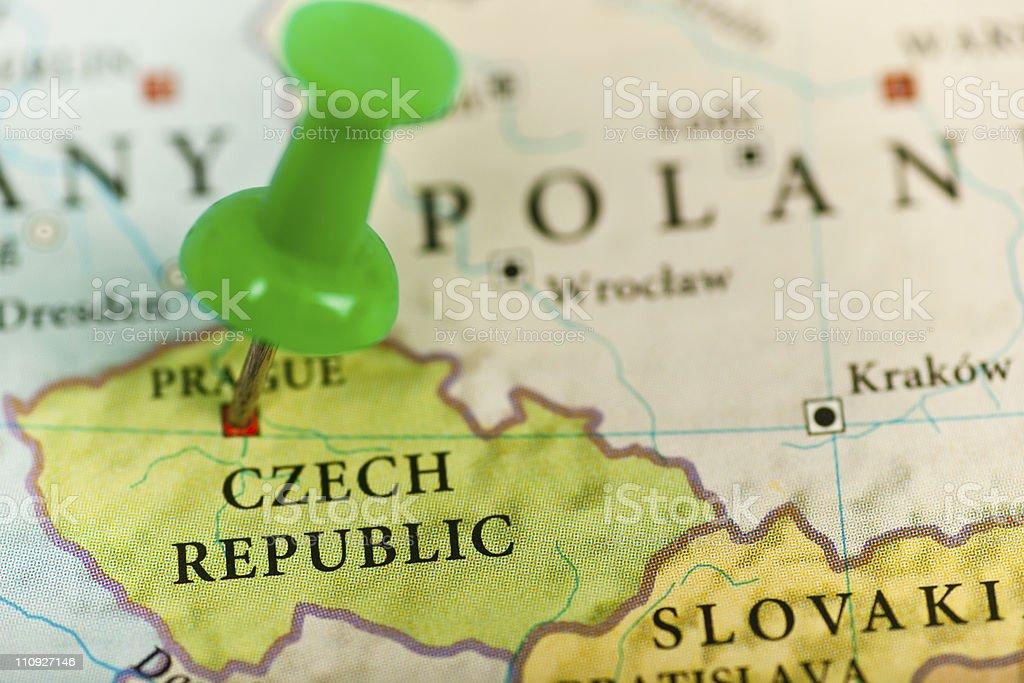 Czech Republic map with push pin stock photo