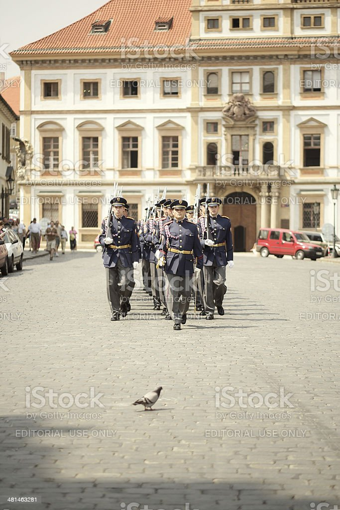 Czech Republic military soldiers marching royalty-free stock photo
