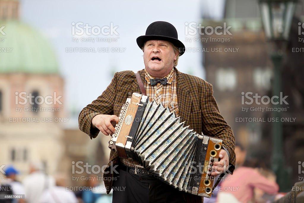 Czech Republic Musician playing the bandoneon in Prague stock photo