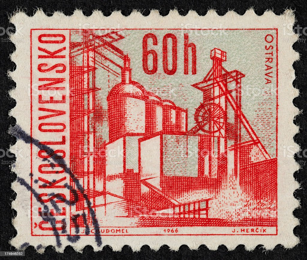 Czech Republic postage stamps royalty-free stock photo
