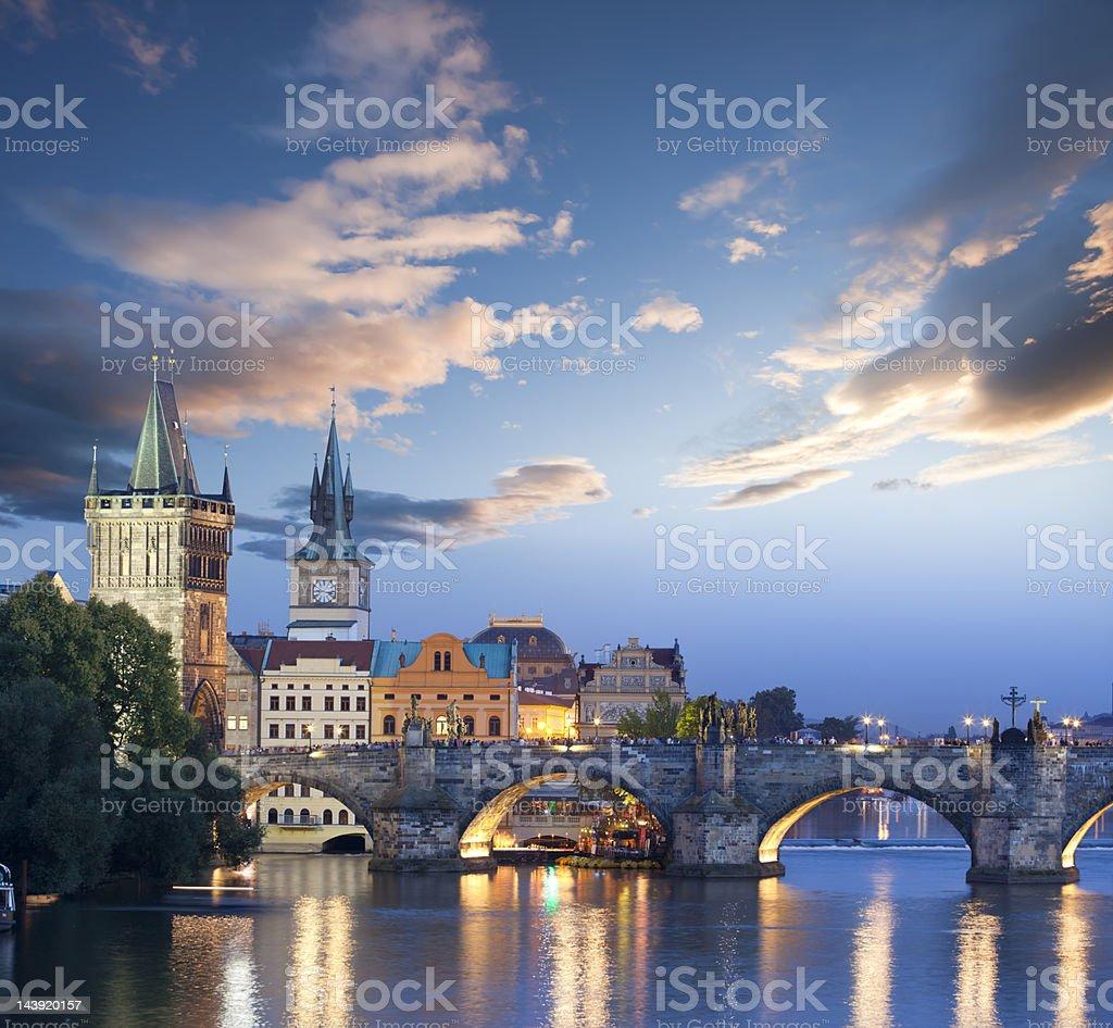Czech republic prague charles bridge at dawn stock photo