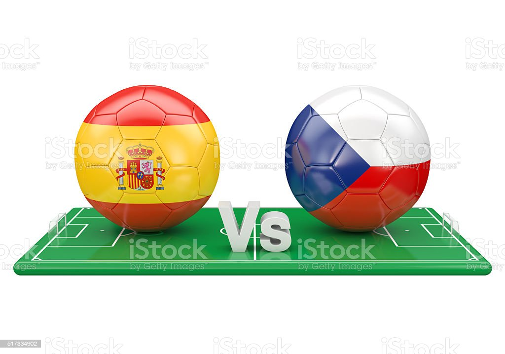 Czech republic / Spain soccer game stock photo