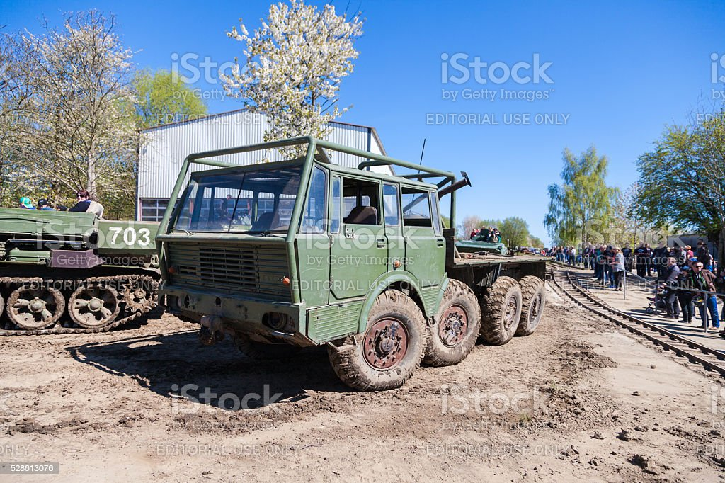 Czech Republic Tatra 813  stands on track stock photo