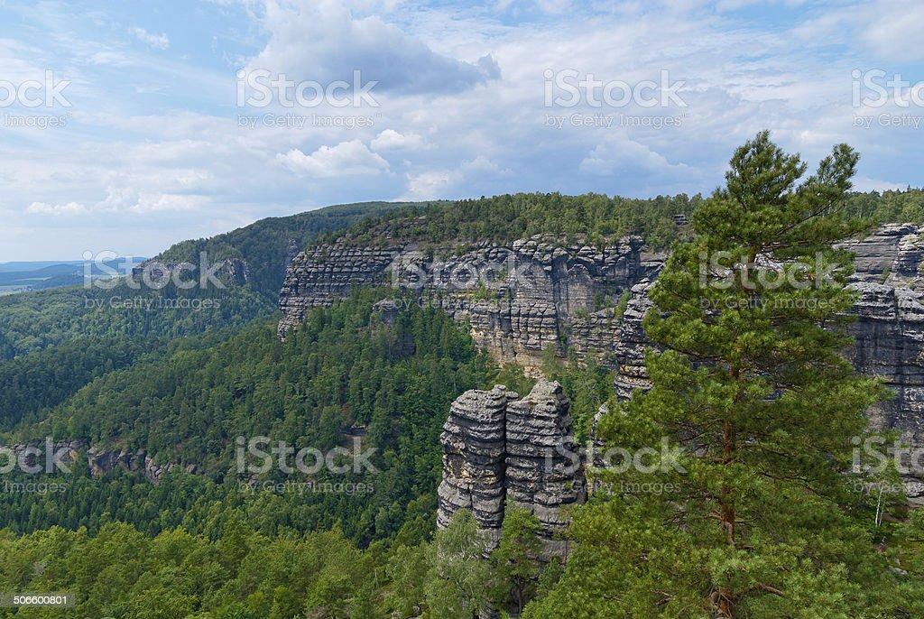 Czech Switzerland next to Pravcicka brana natural gate stock photo