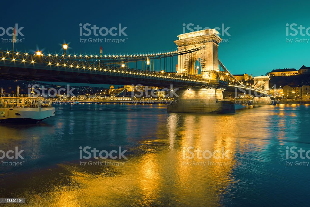 Czechenyi Chain Bridge in Budapest, Hungary, early evening stock photo