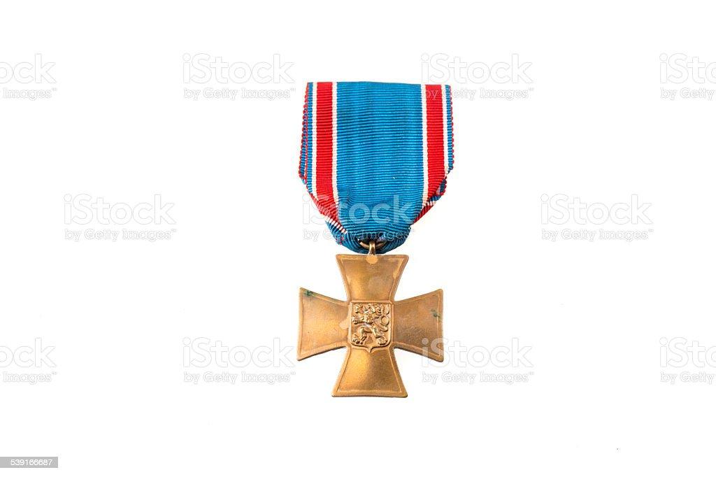 Czechoslovak commerative medal stock photo