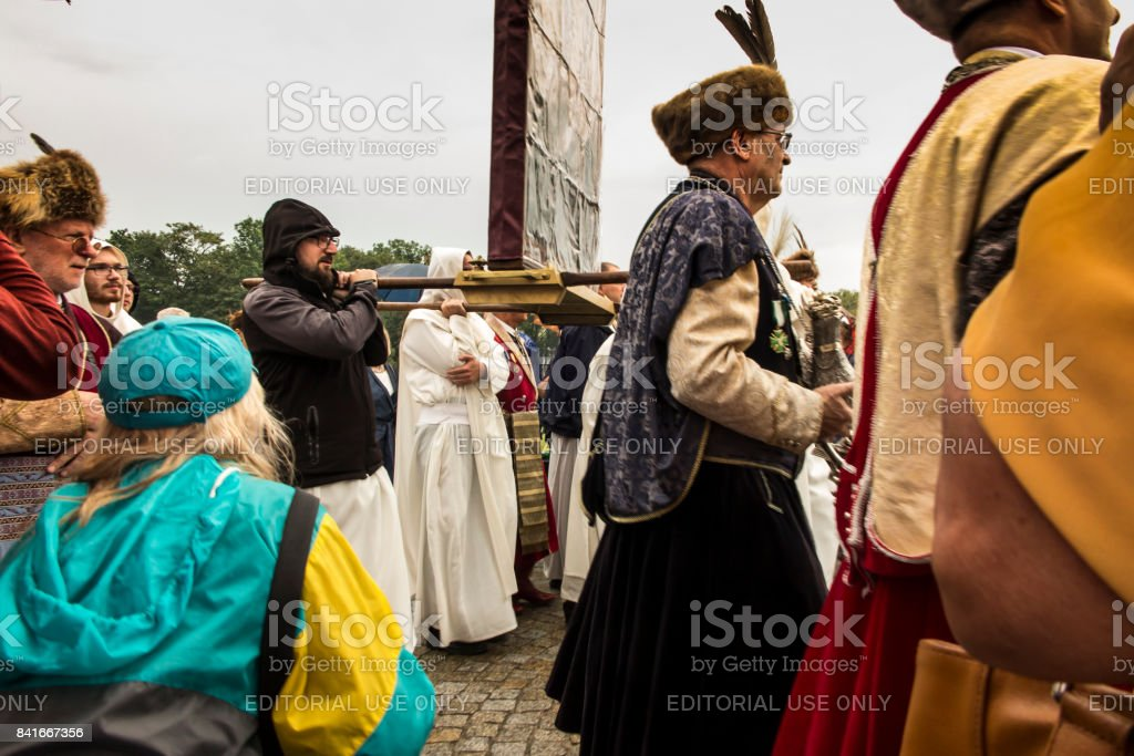 Czestochowa, Poland, 26 August 2017: Jubilee 300 of anniversary of the coronation of the image of the Mother of God of Czestochowska with papal crowns. stock photo