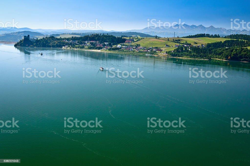 Czorsztyn lake and Tatra Mountains, Poland stock photo
