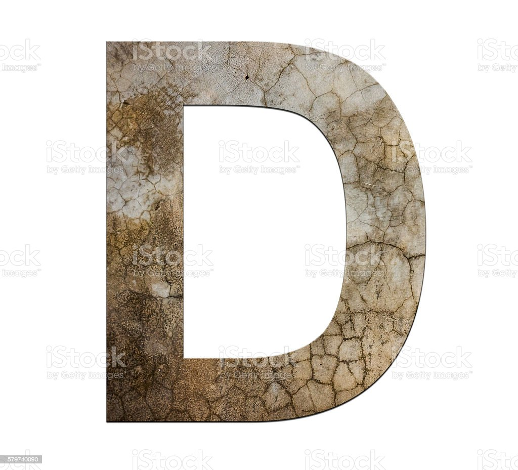 d letter cracked cement texture isolate stock photo