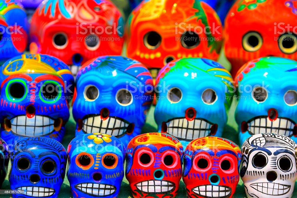 Día de Muertos: Mexican Calaveras, skulls pattern, Mexico City culture stock photo