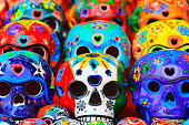 Día de Muertos: Mexican Calaveras, skulls pattern, Mexico City culture