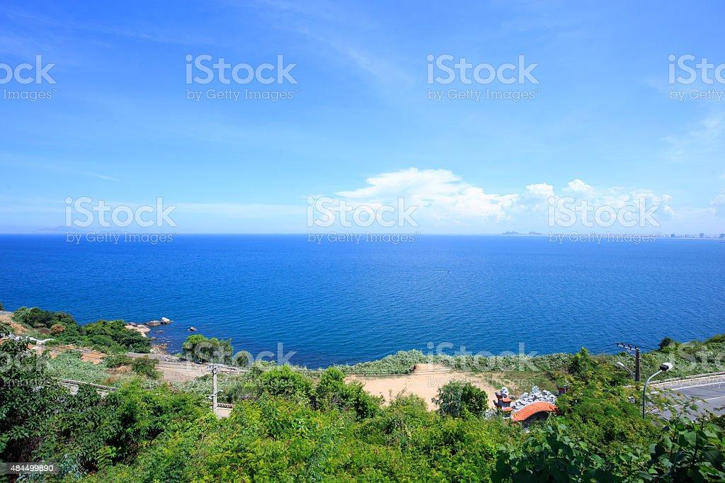 Da Nang beach, view from Ling Ung Pagoda, Vietnam royalty-free stock photo