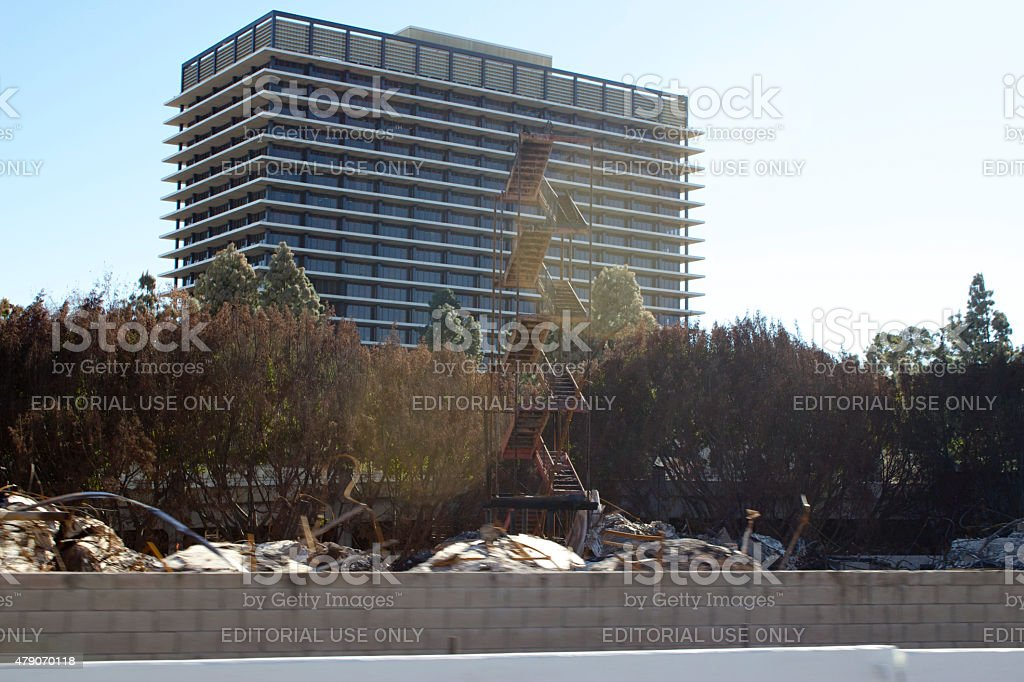 Da Vinci Fire in Downtown Los Angeles Burned Stairway Structures stock photo