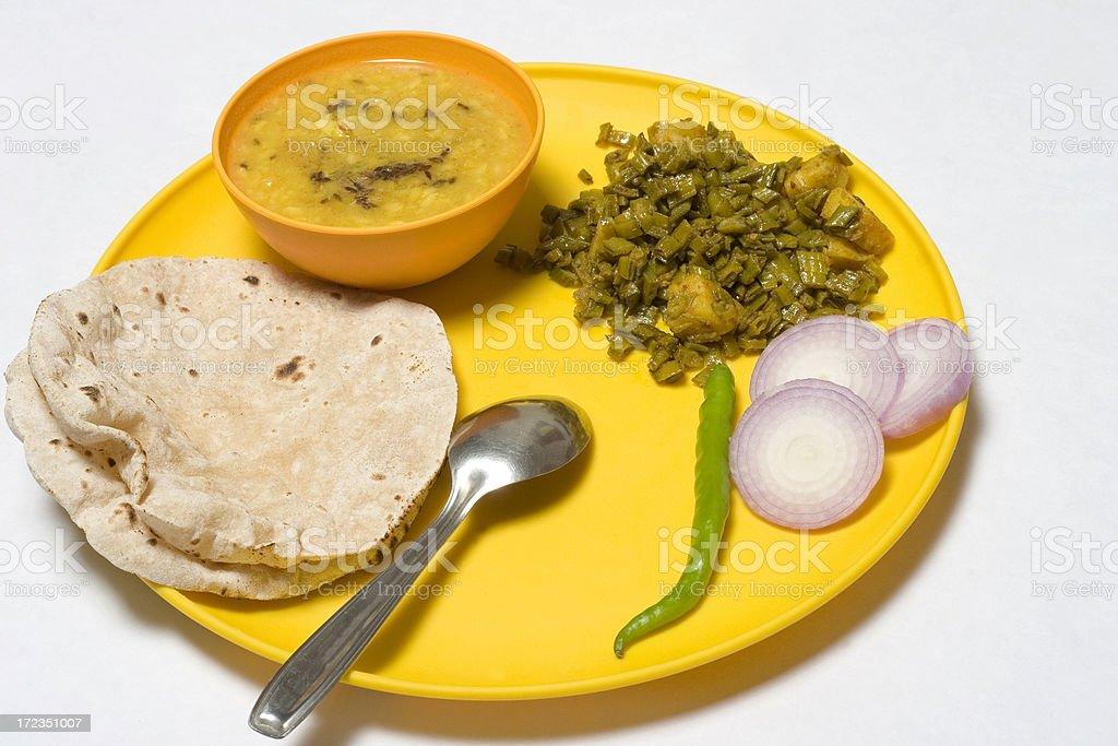 Daal chapatti Home made regular Indian meal Food Thali Salad stock photo