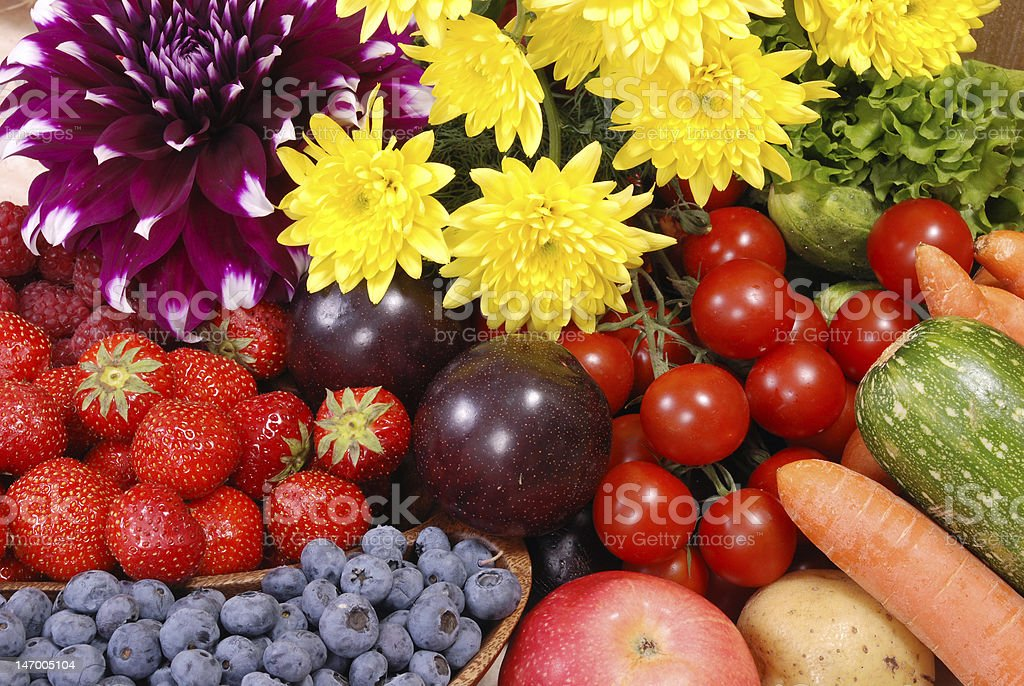 Dacha Harvest - fruit, berries, vegetables and flowers royalty-free stock photo
