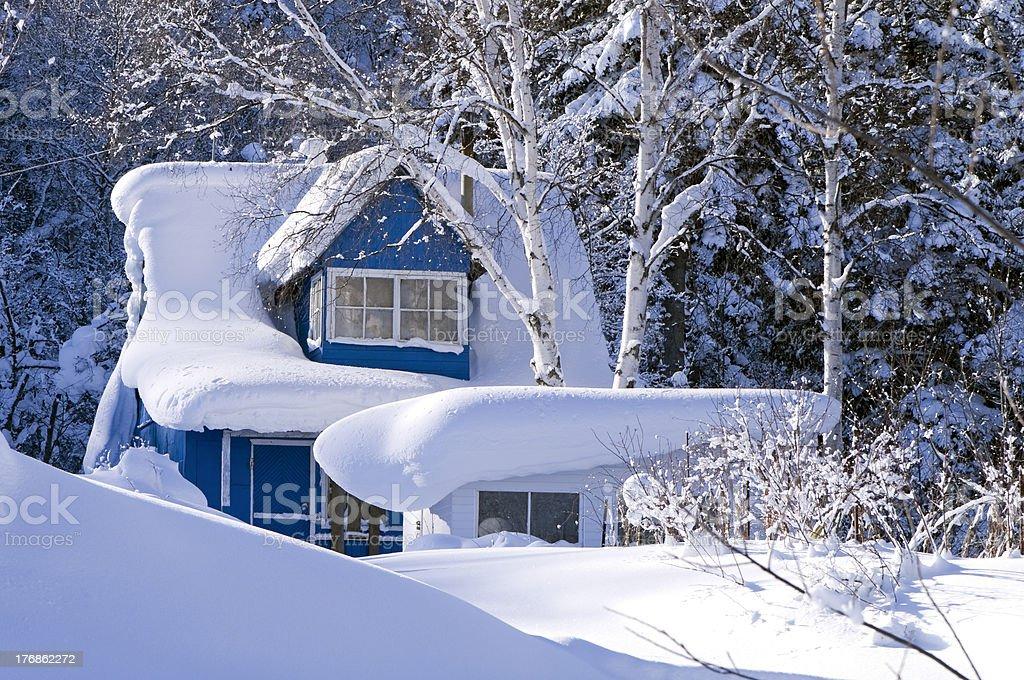dacha in  snowdrift stock photo