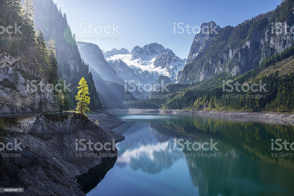 Dachstein glacier reflecting in Gosausee, Salzkammergut, Upper Austria, Austria stock photo