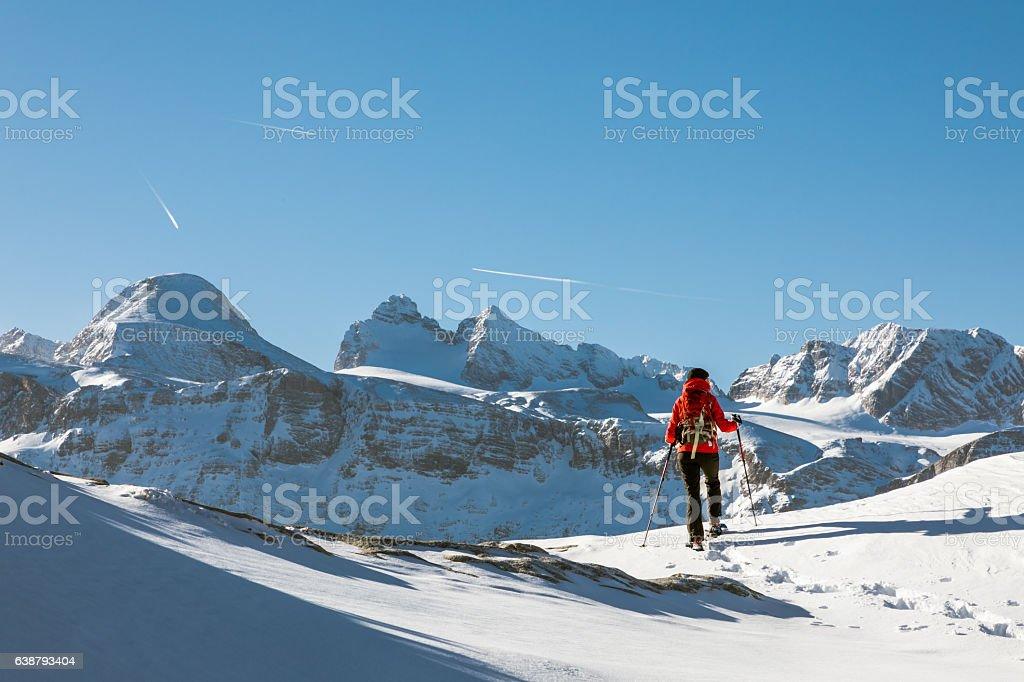 Dachstein Mountains Panorama Snowshoeing, Austria stock photo