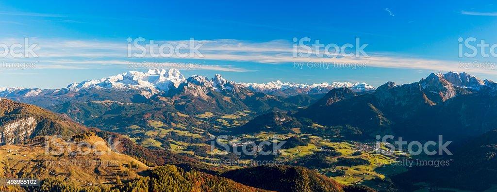 Dachstein Panorama in autumn stock photo