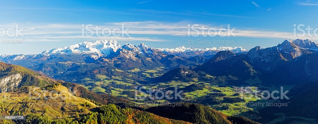 Dachstein Panorama, view over river Salzch Valley stock photo