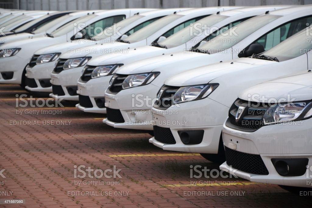 Dacia cars in a row stock photo