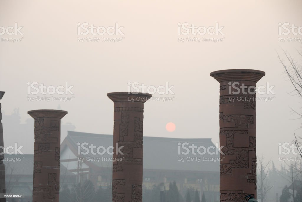 Daci'en Buddhist Temple in the Morning, Xi'an, China stock photo