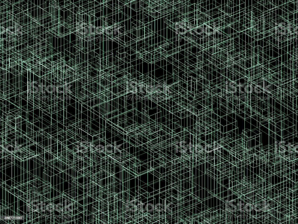 Dackground texture with green 3d wireframe lines stock photo