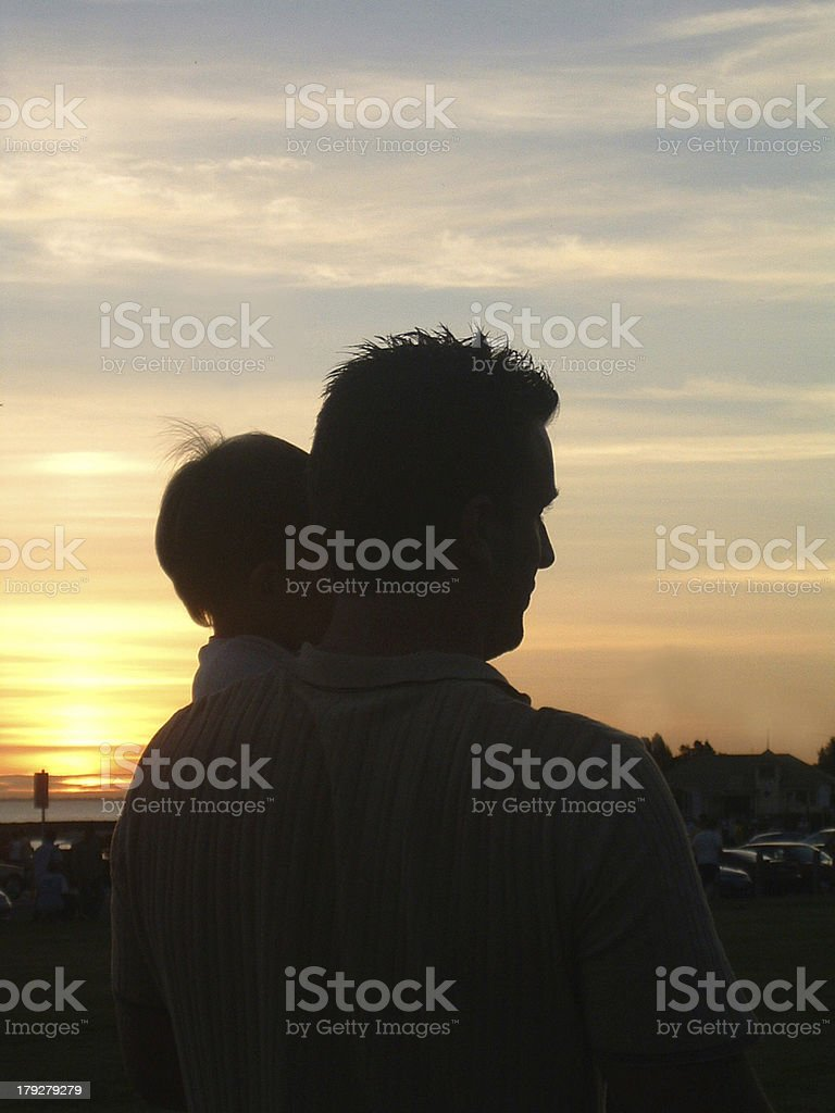 Dad and Me in Sunset royalty-free stock photo