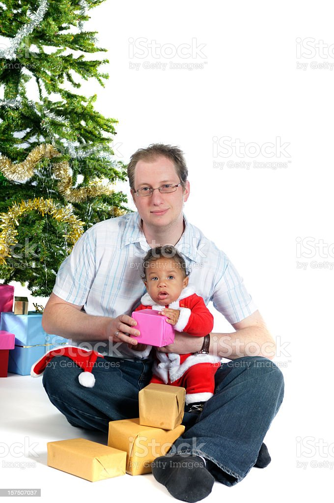 Dad and Son At Christmas stock photo