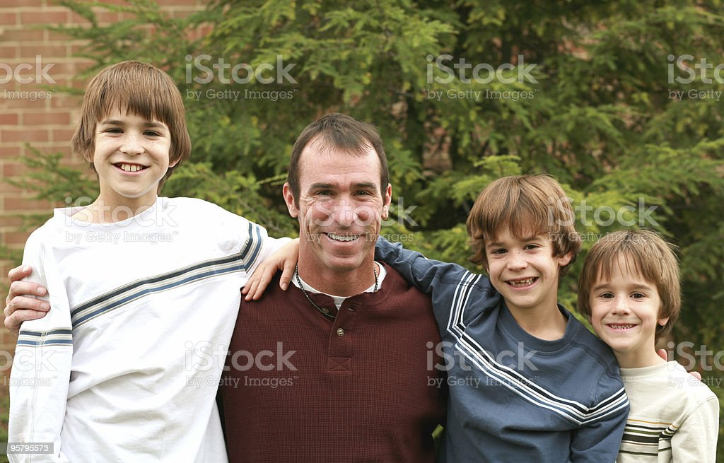 Dad and the Boys royalty-free stock photo