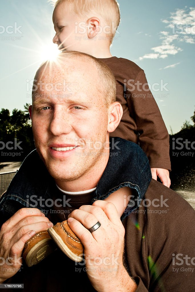 Dad and Toddler Boy Piggyback royalty-free stock photo
