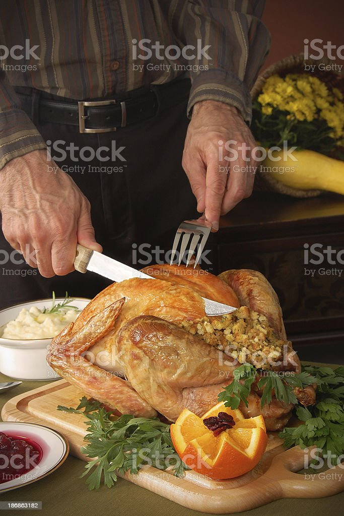Dad Carves the Turkey royalty-free stock photo