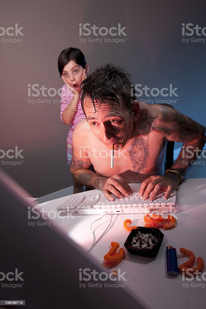 Dad caught surfing adult porn site royalty-free stock photo