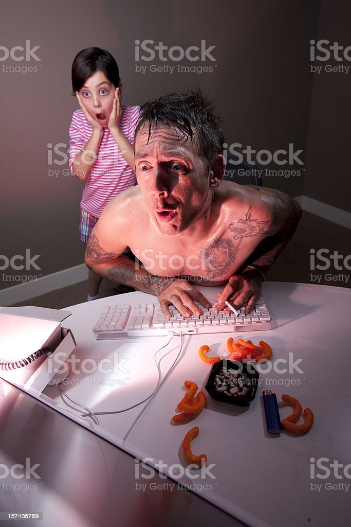 Dad caught surfing adult web site stock photo