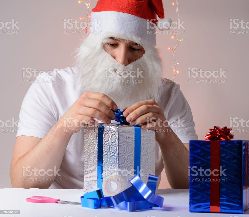 Dad Christmas gift packs stock photo