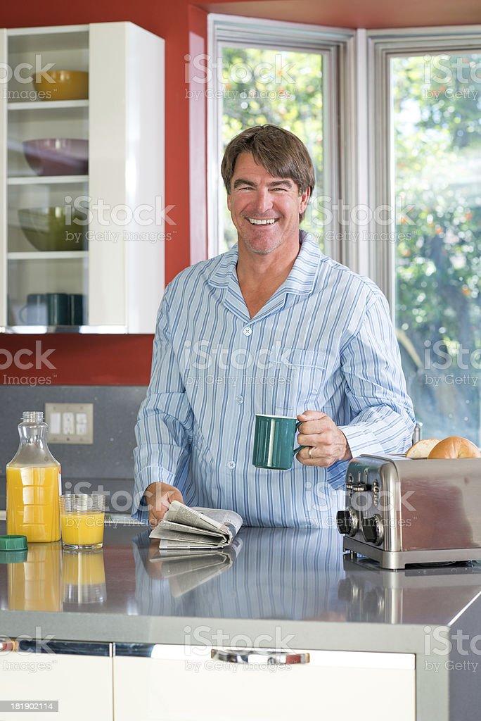 Dad Drinking Orange juice royalty-free stock photo