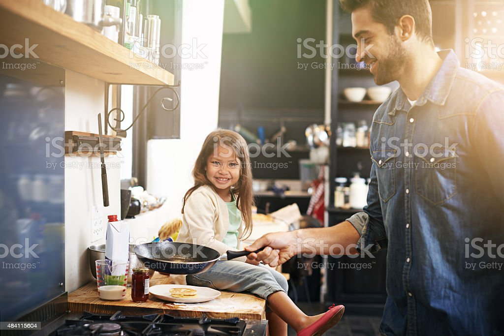 Dad makes the best pancakes ever stock photo