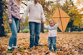 Dad, mom and son flying a kite in nature