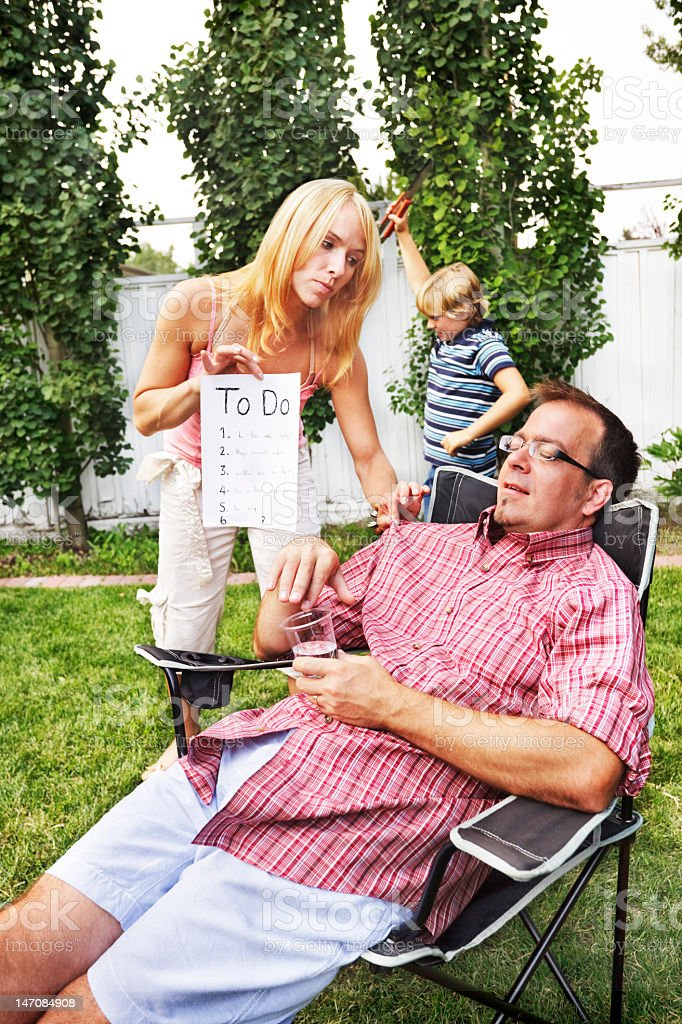 Dad relaxing royalty-free stock photo