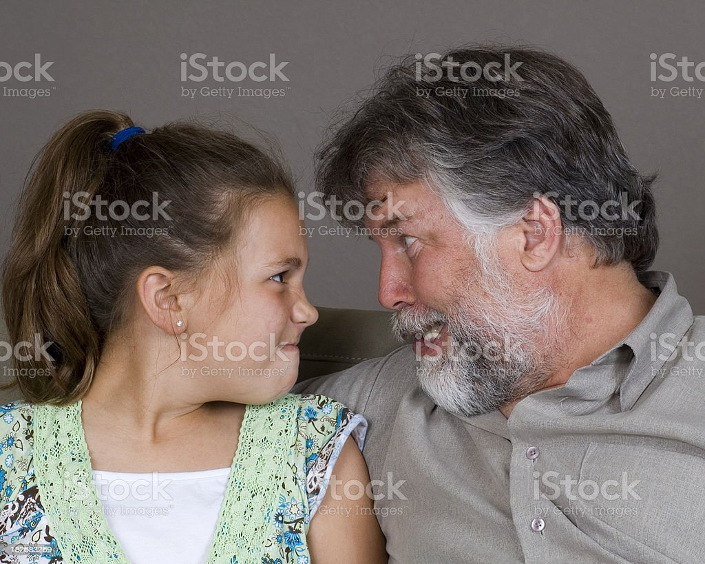 Daddy and Daughter Making Faces royalty-free stock photo