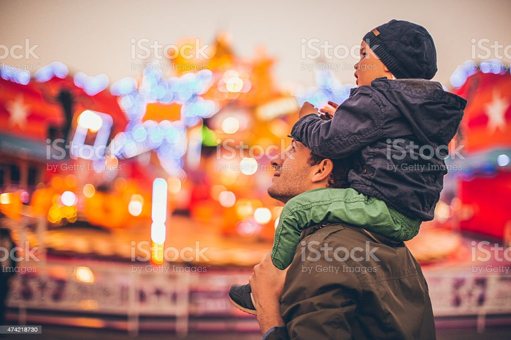 Daddy and me at the amusement park stock photo