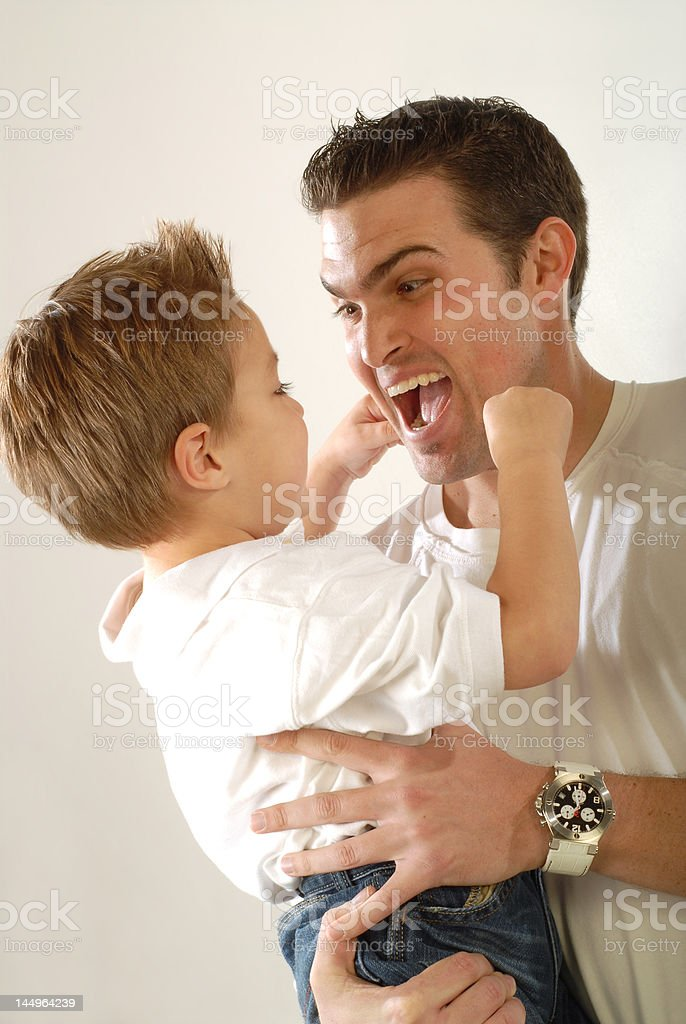 Daddy being silly royalty-free stock photo