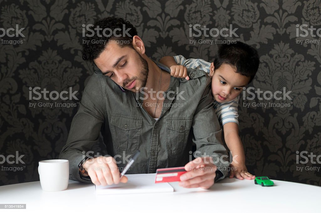 Daddy come and play! stock photo