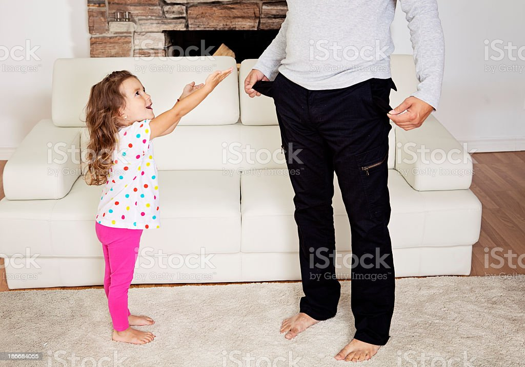 Daddy, give me some money! stock photo