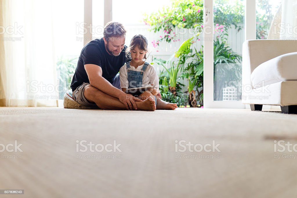 Daddy, look at! stock photo