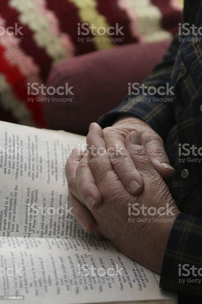 Daddy's Hands Praying royalty-free stock photo