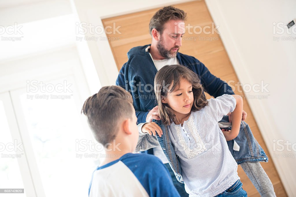 Daddy's help is always appreciated stock photo